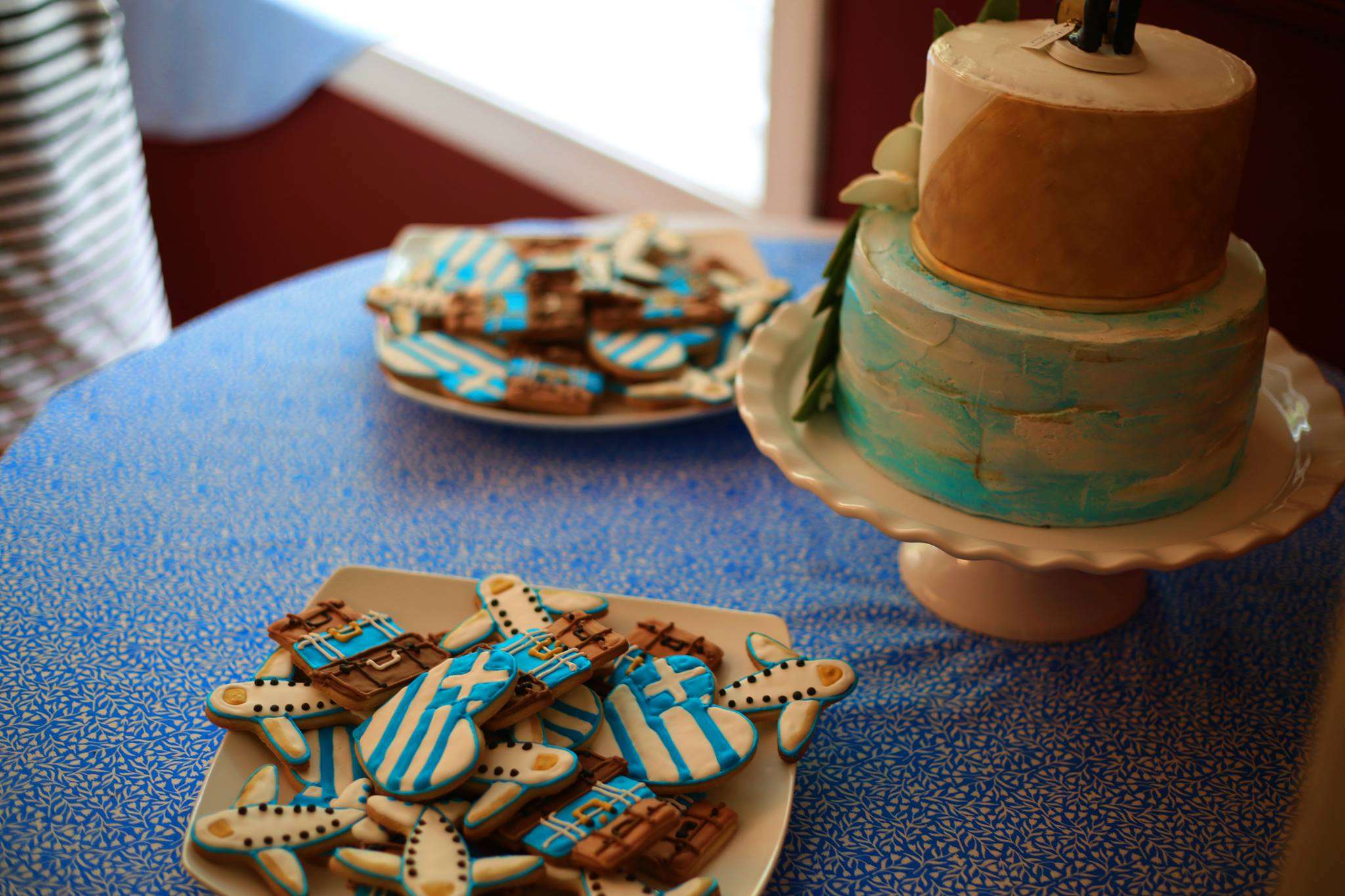 Greek-themed cookies and cake!