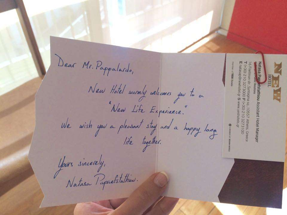 A welcome card from NEW Hotel in Athens