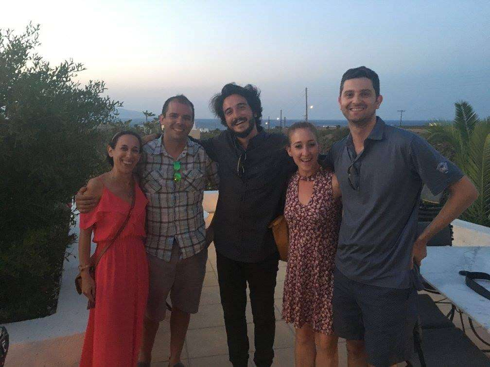 With the wine tour crew at Domaine Sigalas in Oia, Santorini
