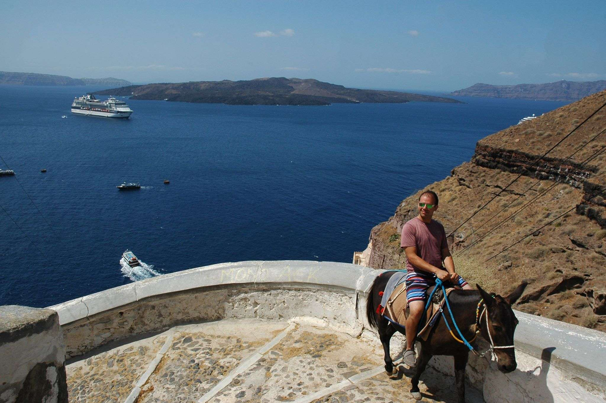 Donkey ride up Fira's caldera with a view of the Aegean Sea
