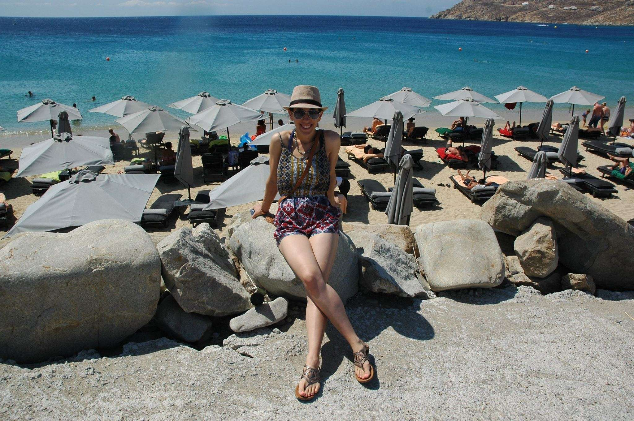 Waiting for the shuttle in front of Elia Beach, Mykonos