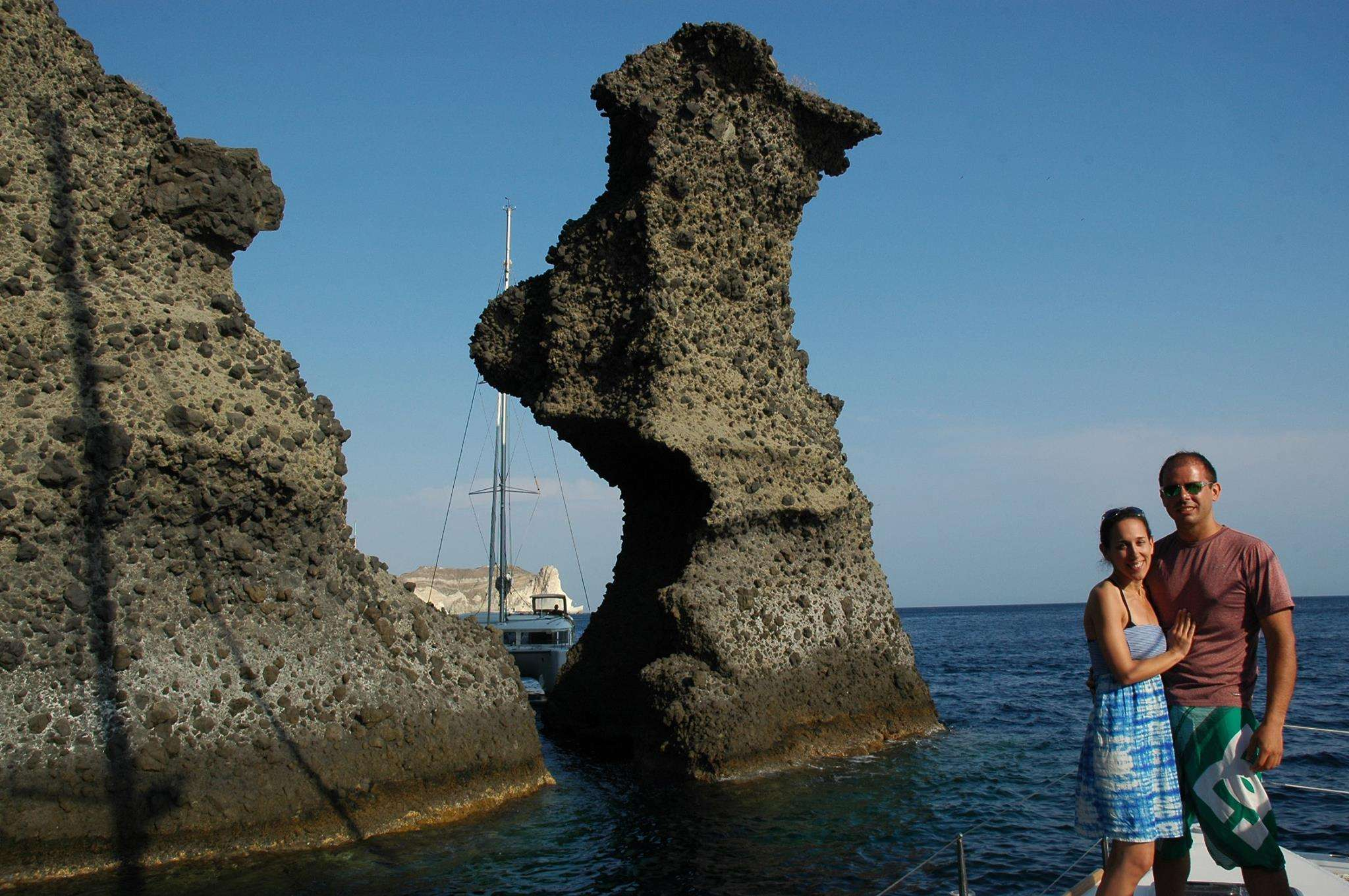 Some incredible rock formations made from the volcano on Santorini
