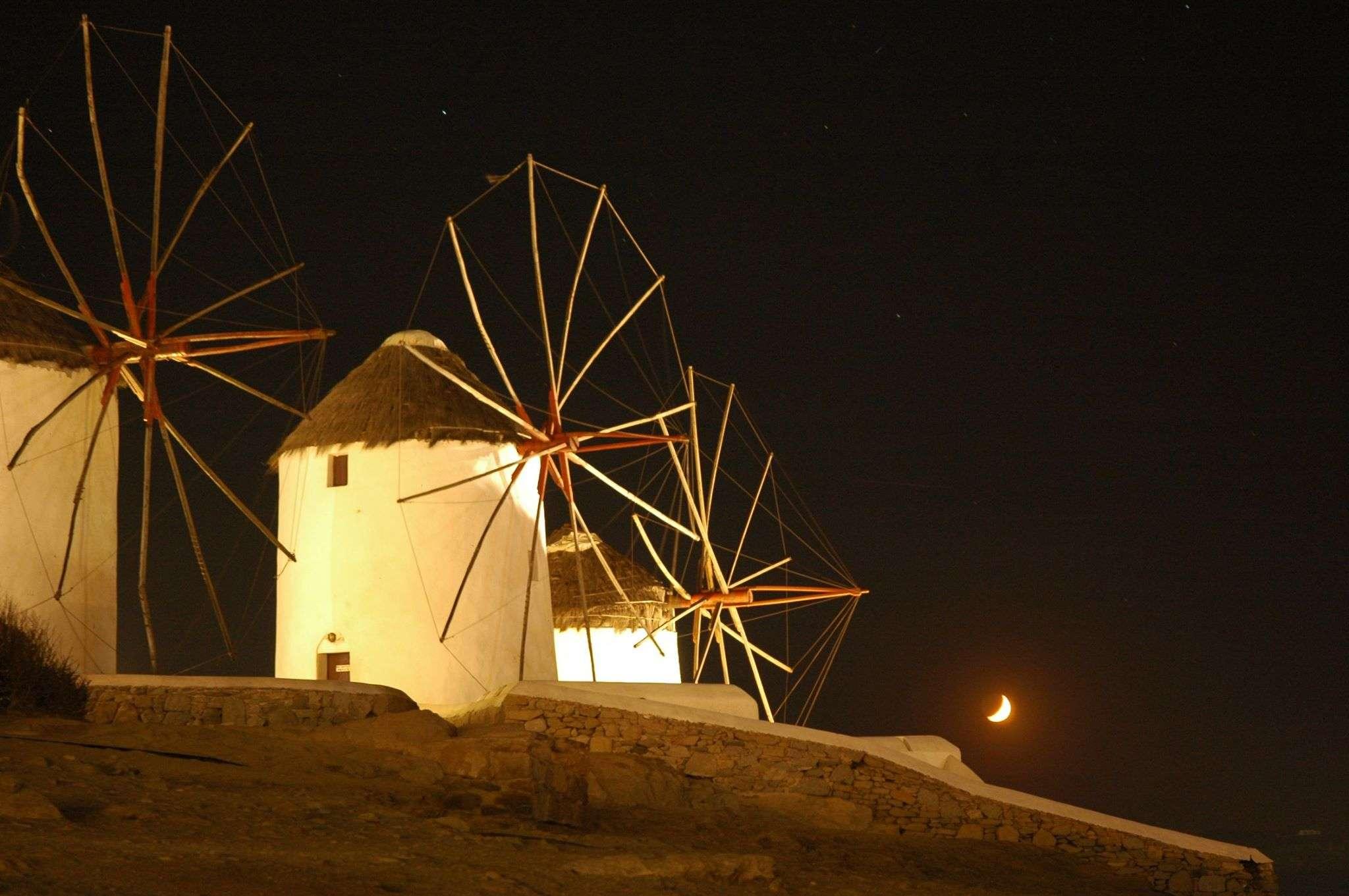 The windmills of Mykonos at night