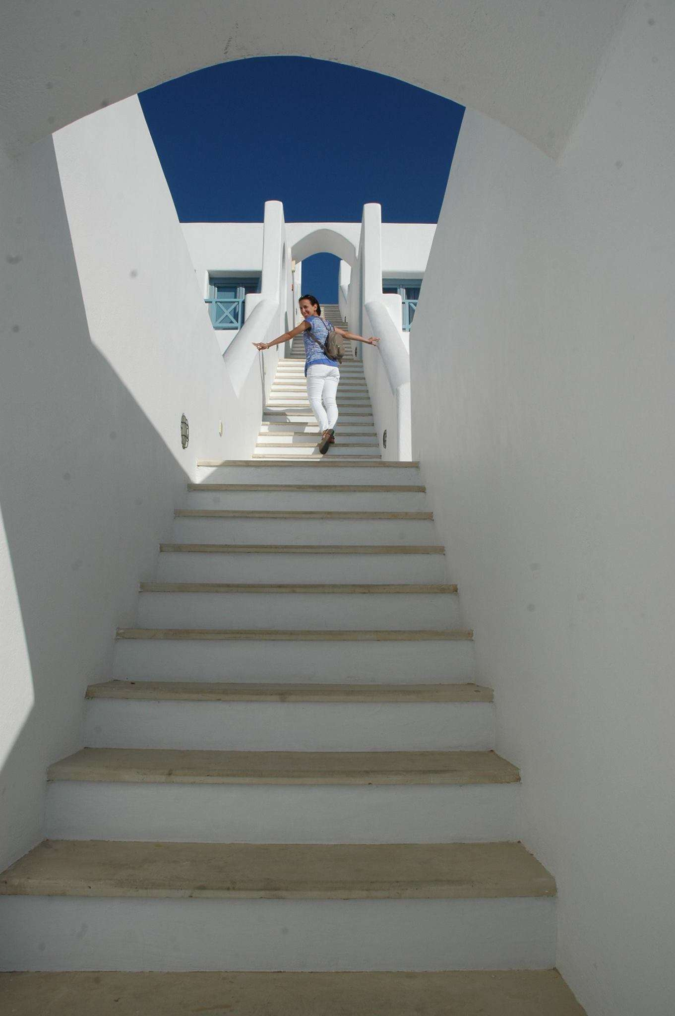 Steps leading to our honeymoon suite at Absolute Bliss Hotel, Santorini