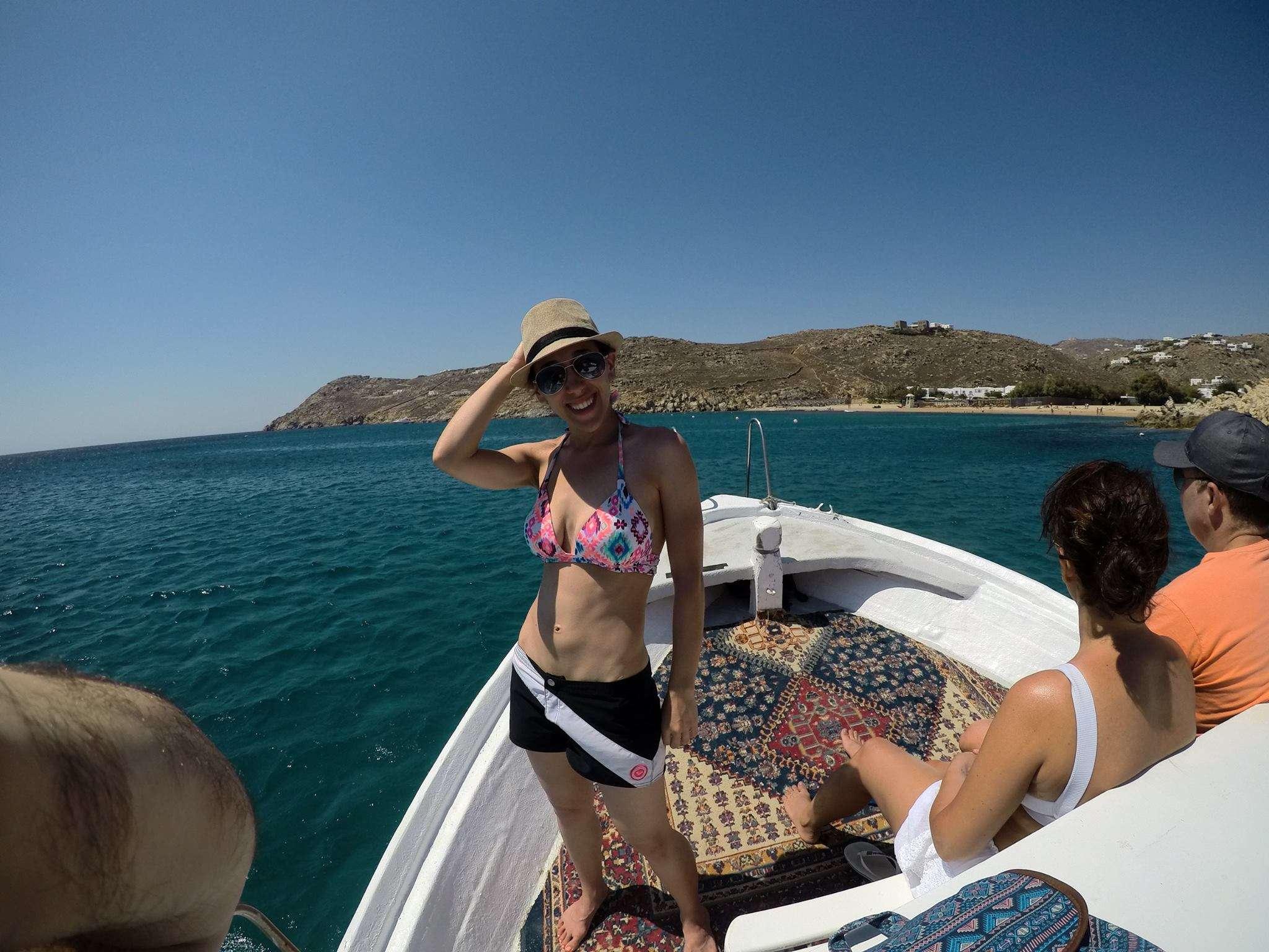 Aboard a water taxi in Mykonos