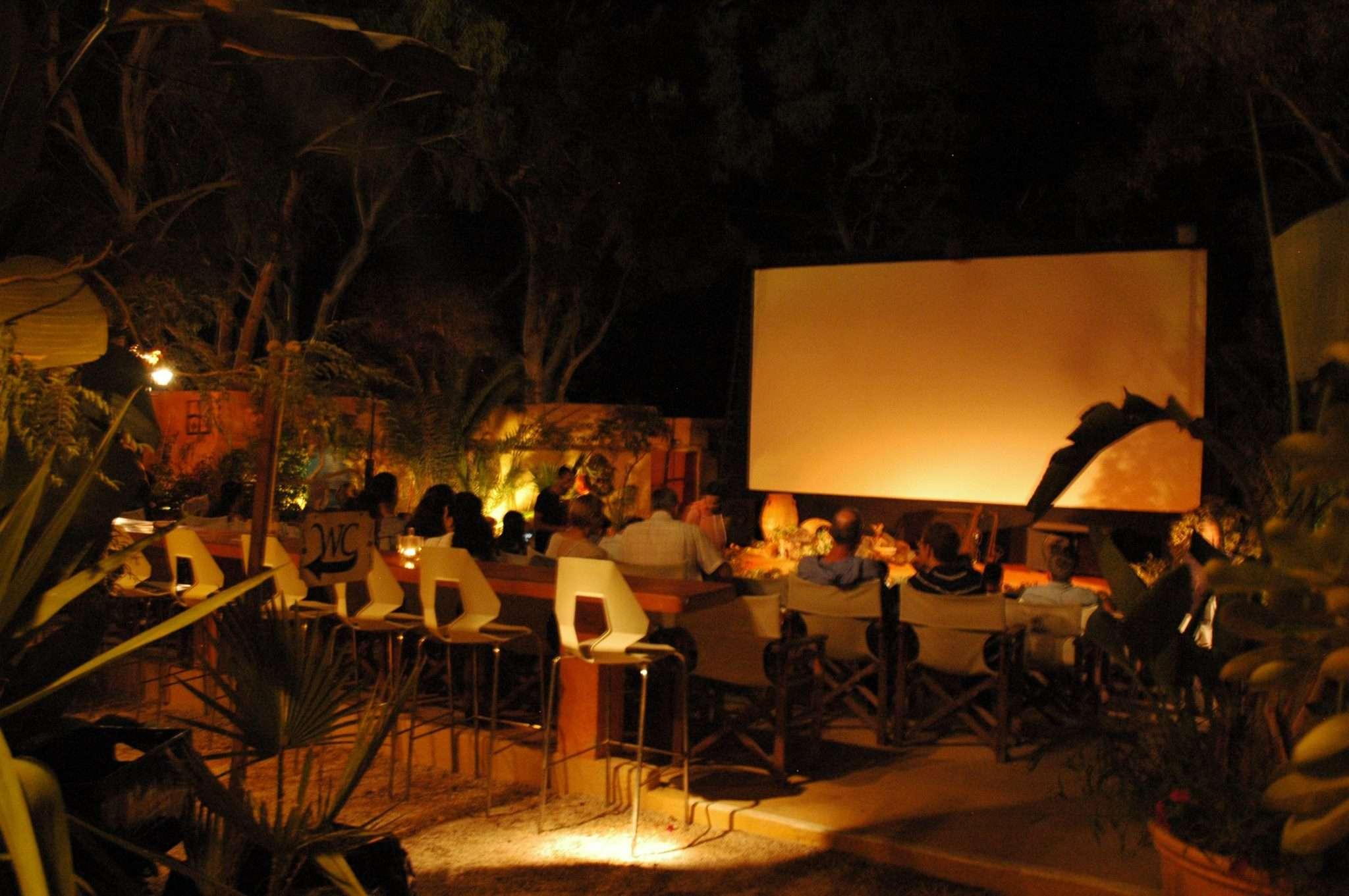 The movie screen at Open Air Cinema Kamari, Santorini