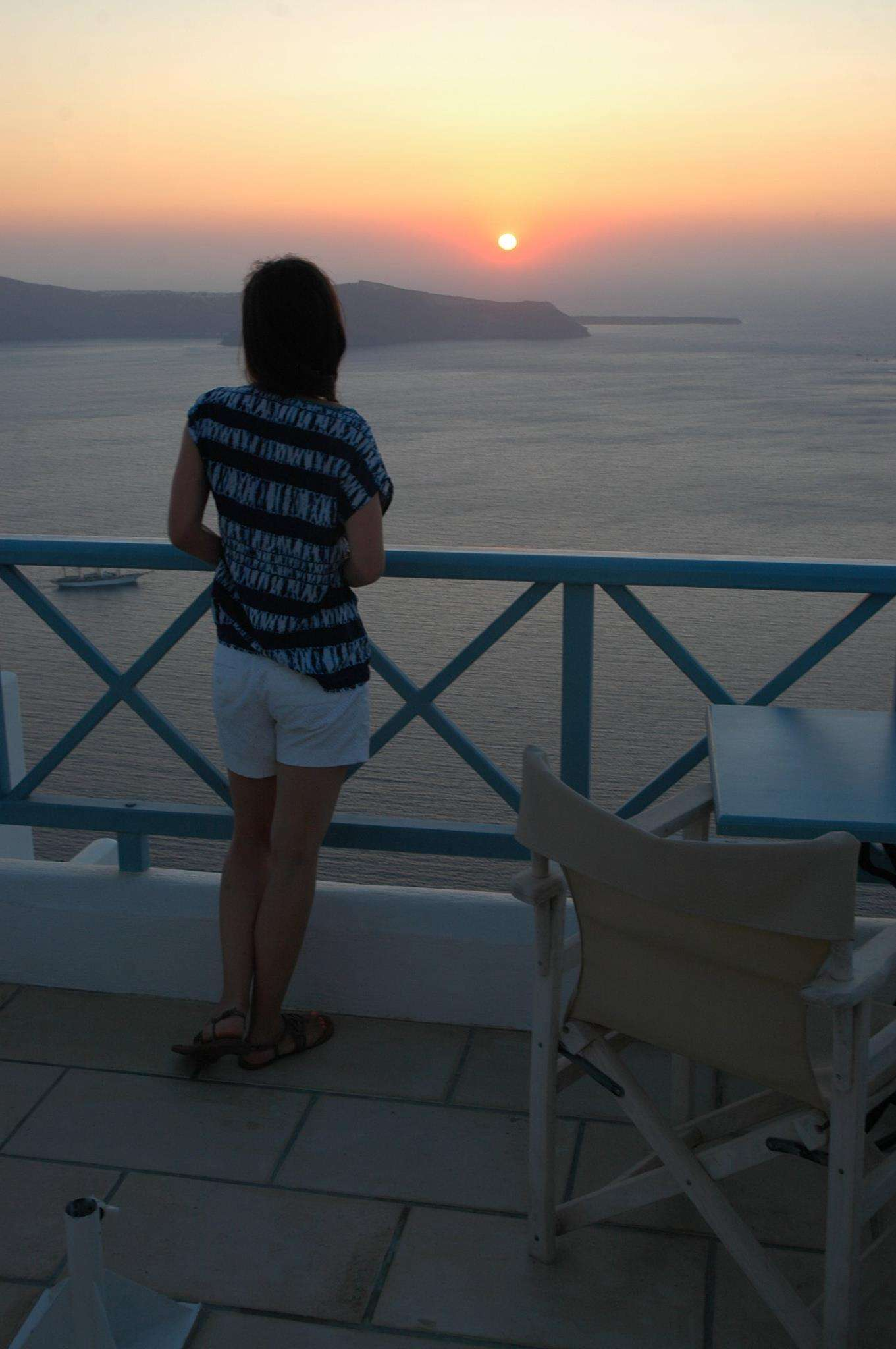 Watching the mesmerizing first sunset at Absolute Bliss Hotel in Santorini