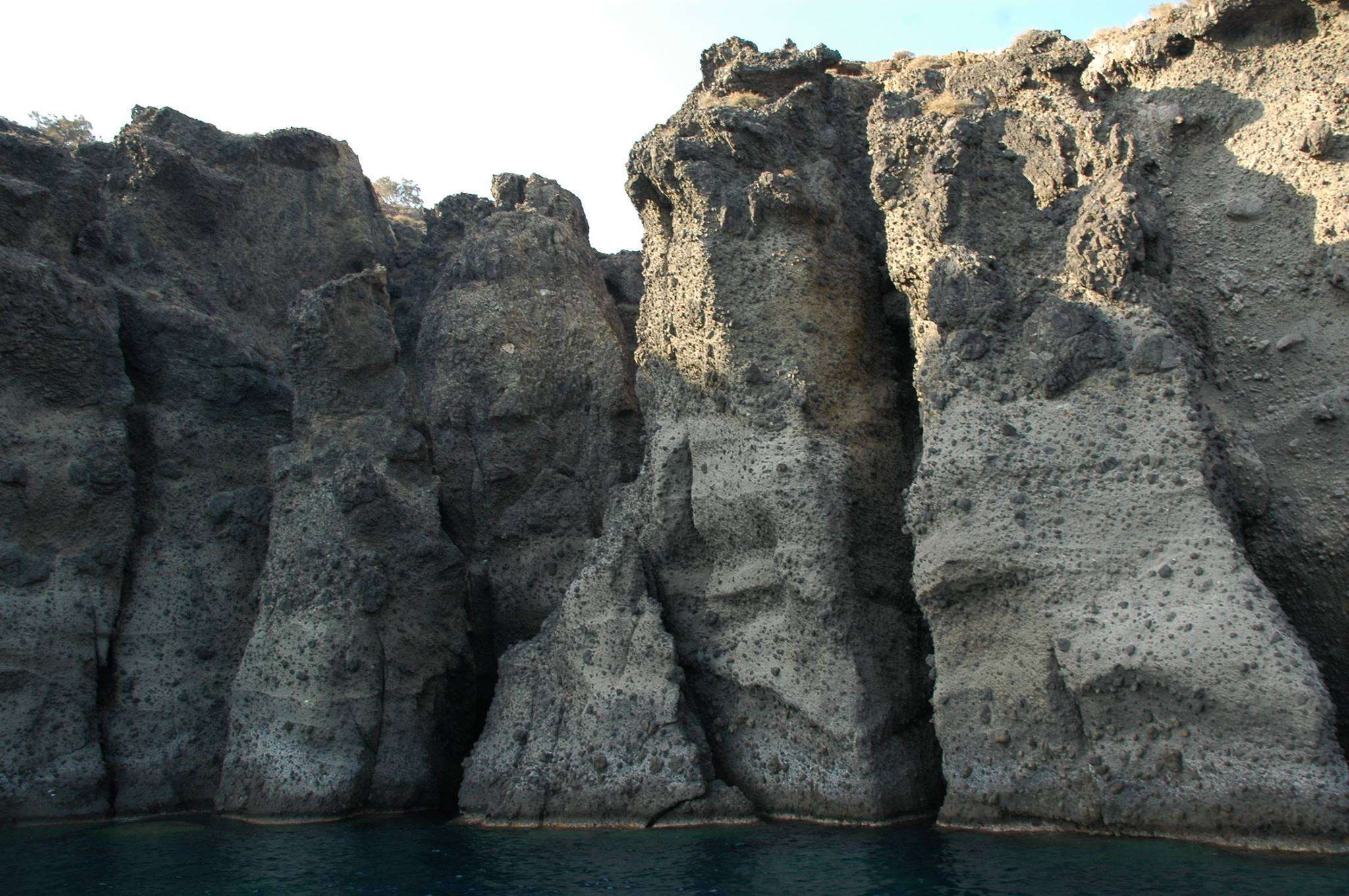 Enormous rock formations on Santorini
