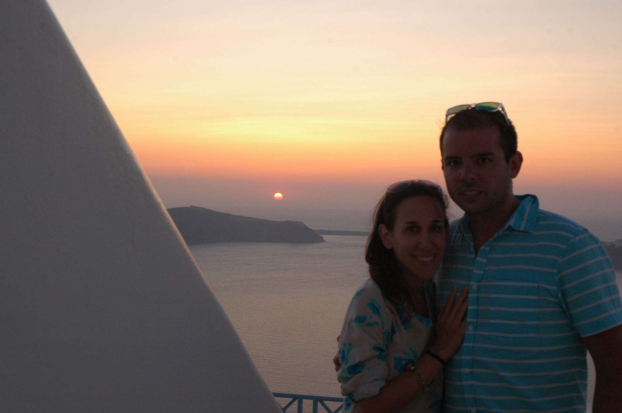 Capturing a couple's sunset shot from Absolute Bliss Hotel in Santorini