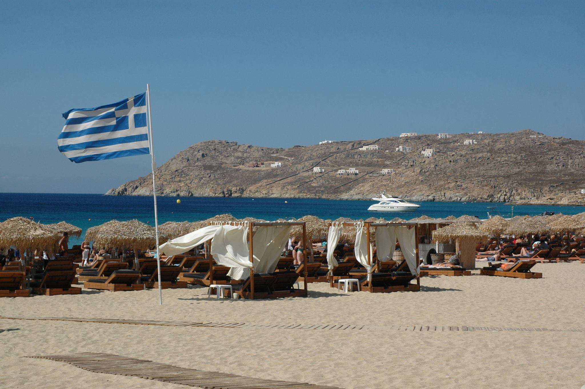 The view of Elia Beach from Elia Mediterranean Restaurant