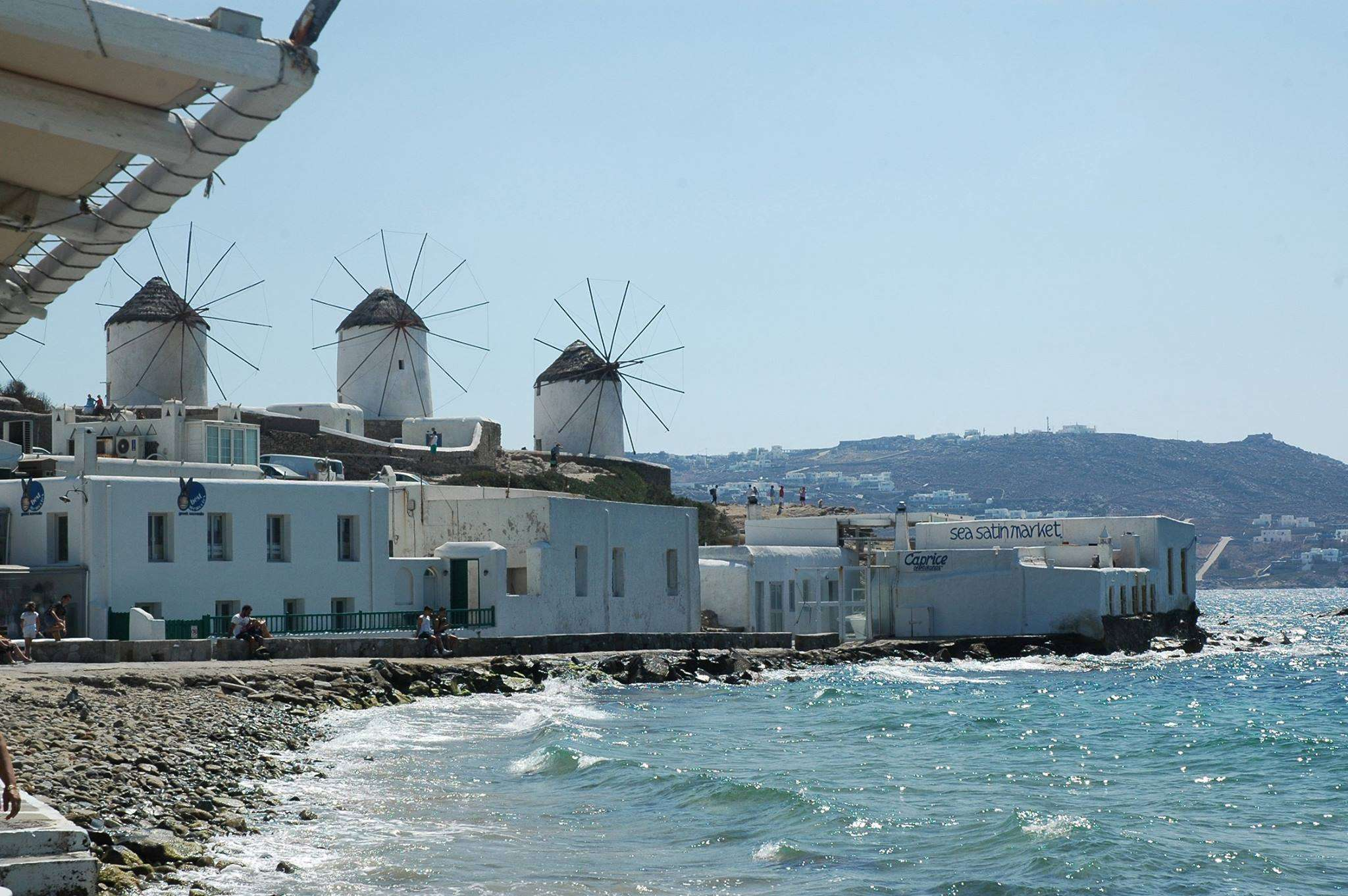 A view of the Mykonos windmills from Little Venice