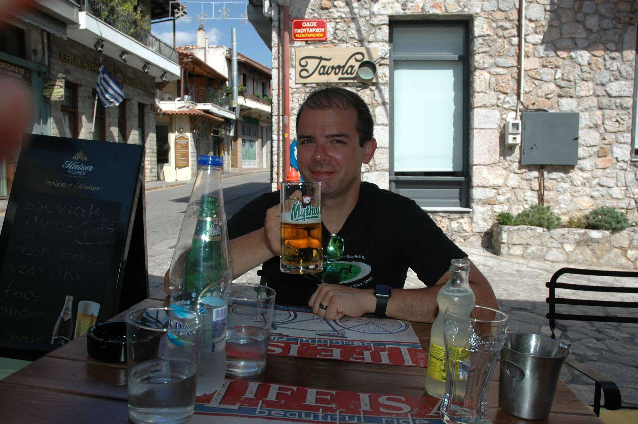 Enjoying lunch in Arachova in Boeotia, Greece