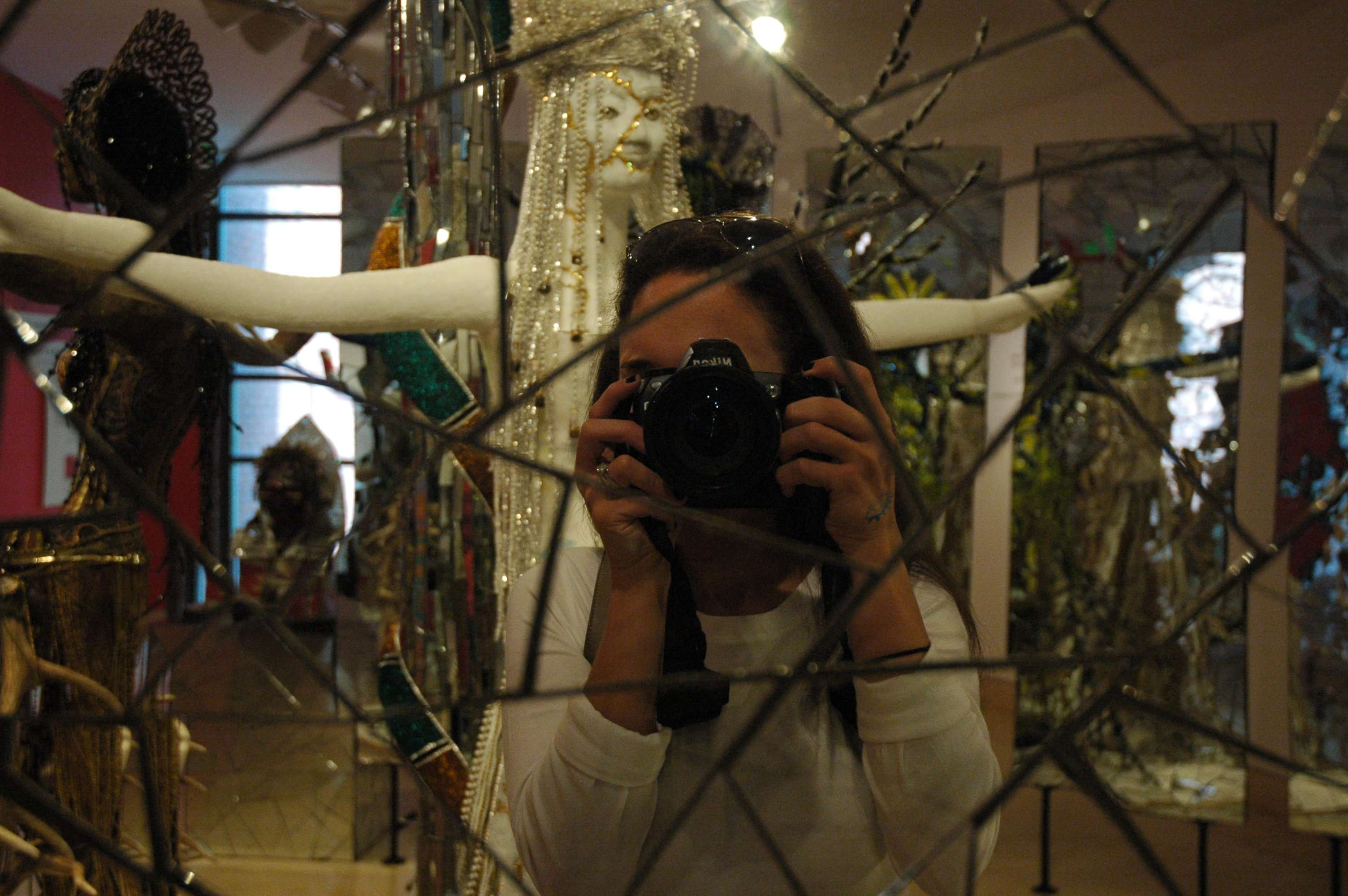 Playing with mirrored glass at the American Visionary Art Museum