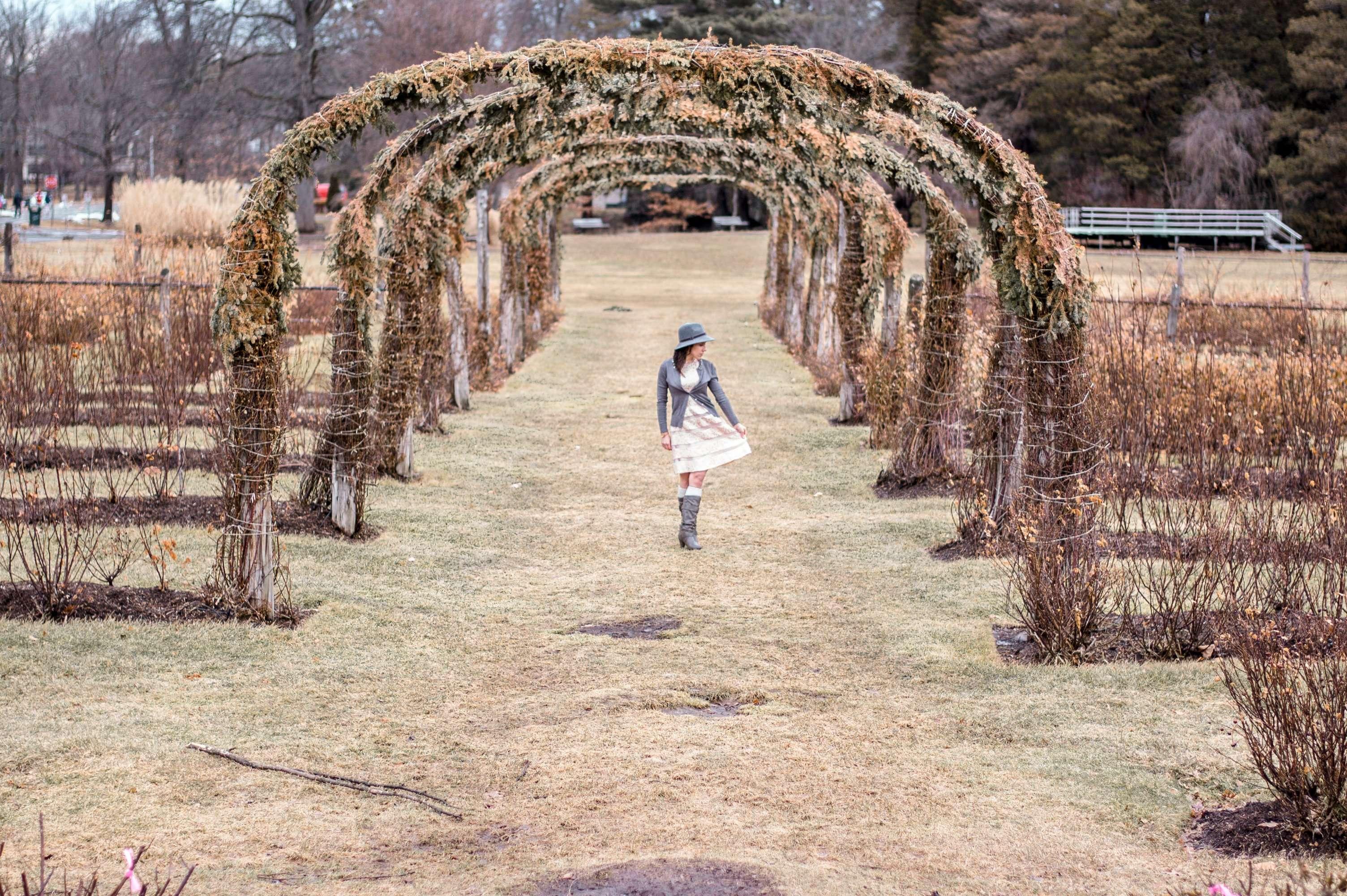 Under an arbor (sans roses) at Elizabeth Park Rose Garden