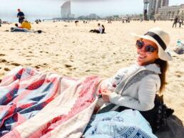Under the blanket the vendor tried to sell me on Barceloneta Beach