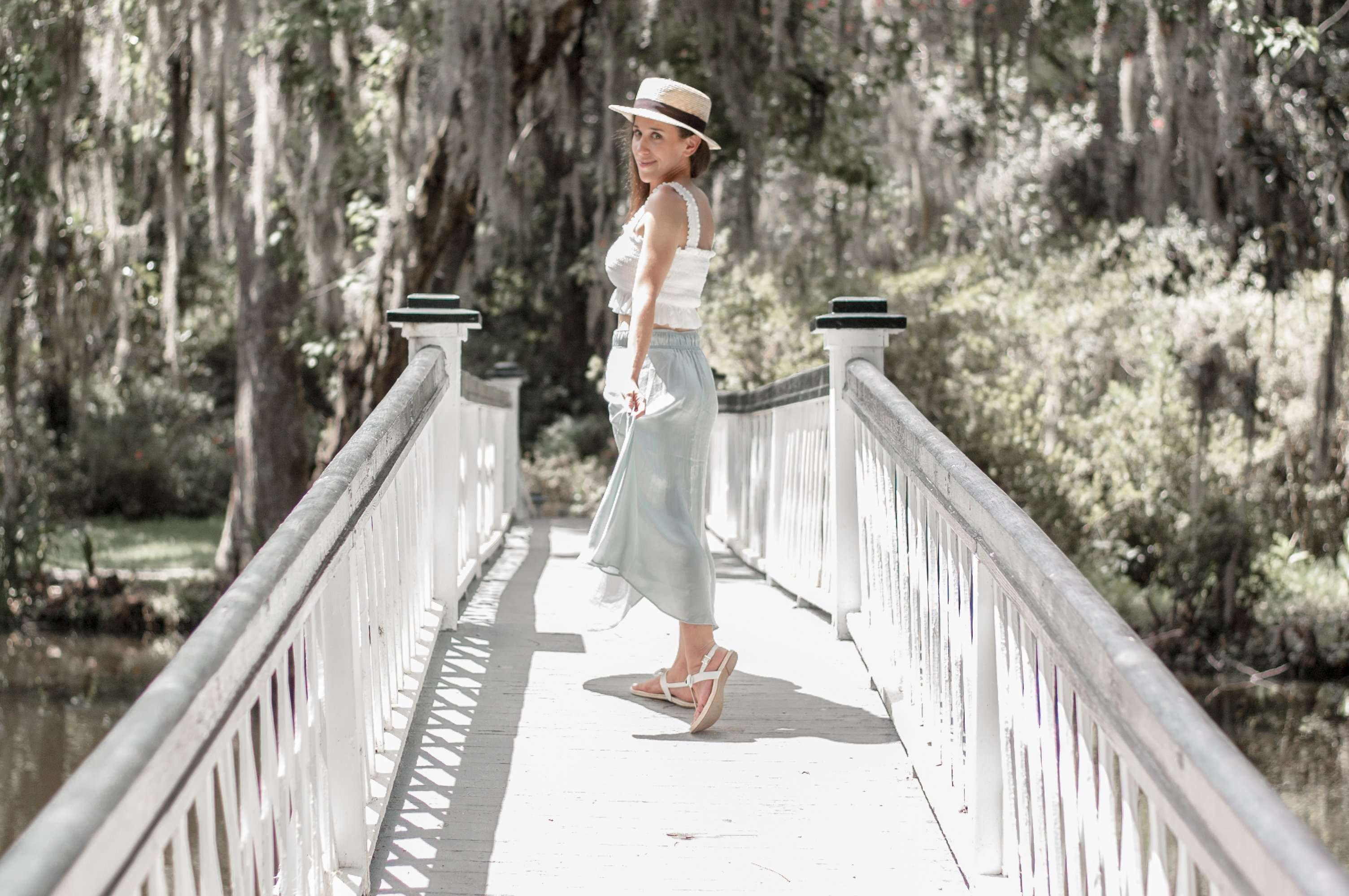 Crossing the Footbridge at Magnolia Plantation