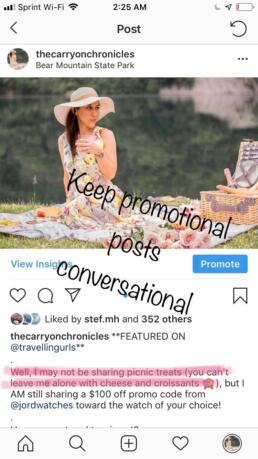 Promotional post