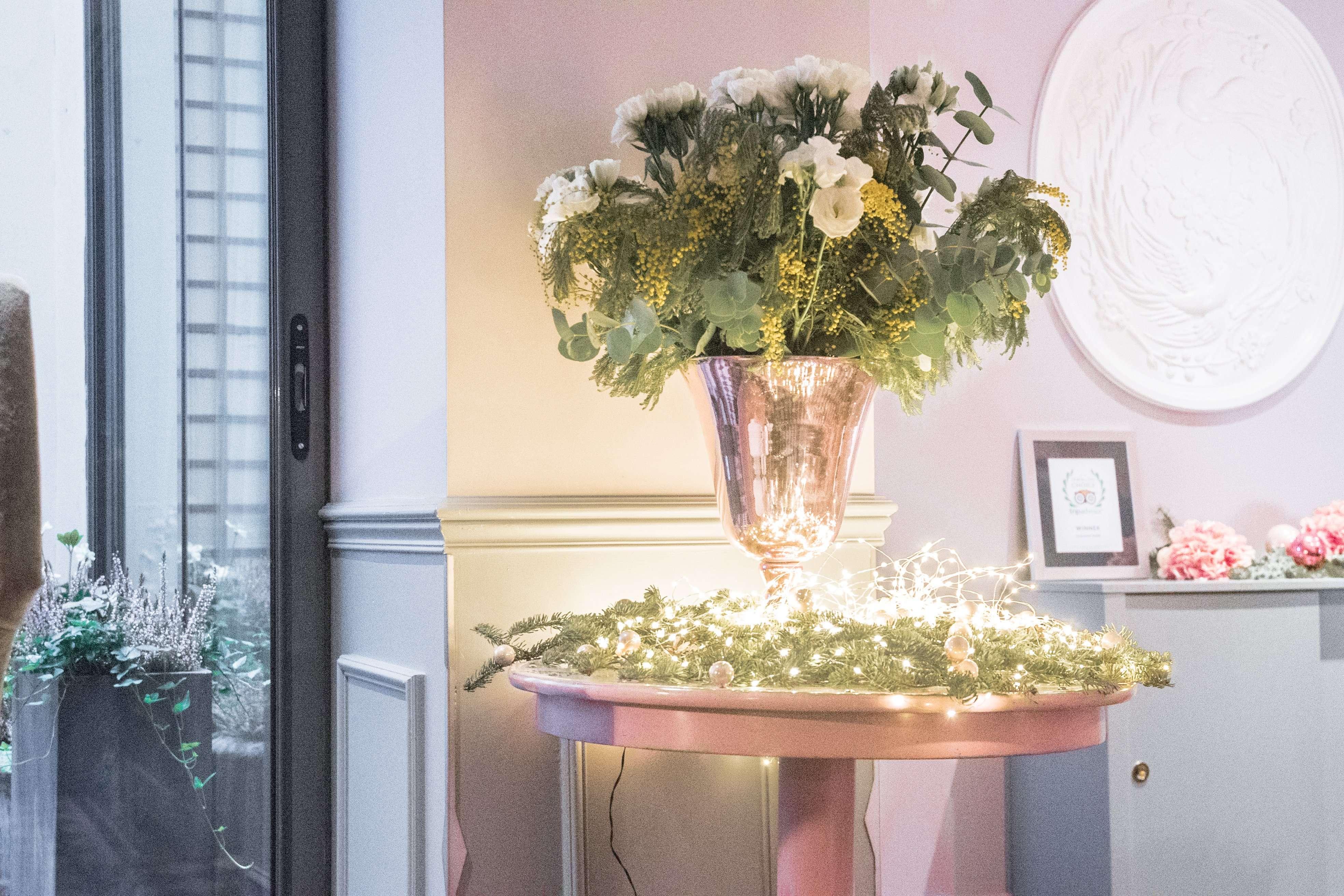 Flower arrangement in the lobby of La Maison Favart
