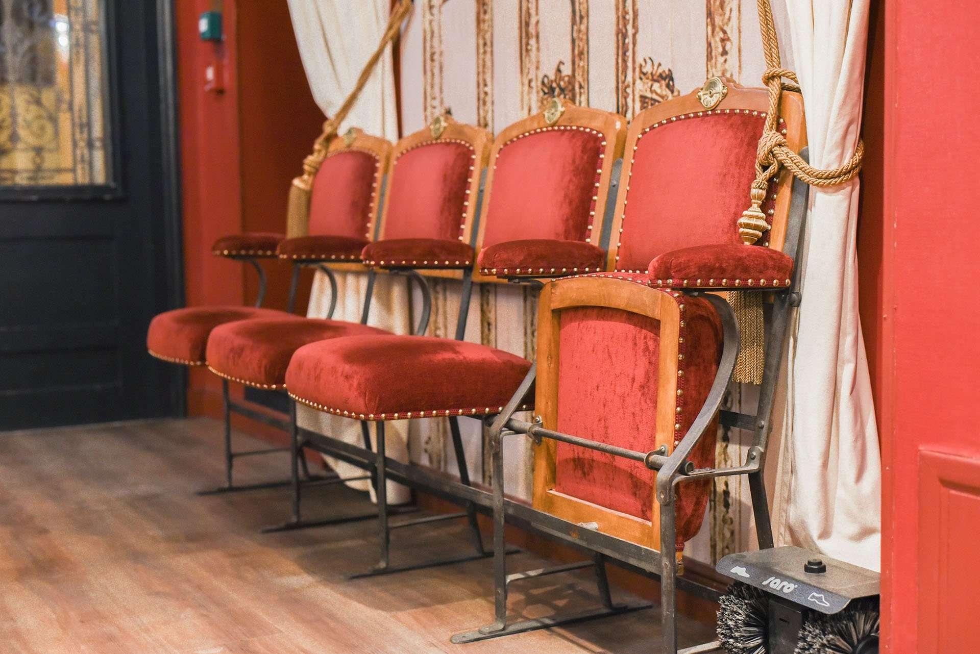 Theater-style lobby seats at Hotel Sacha