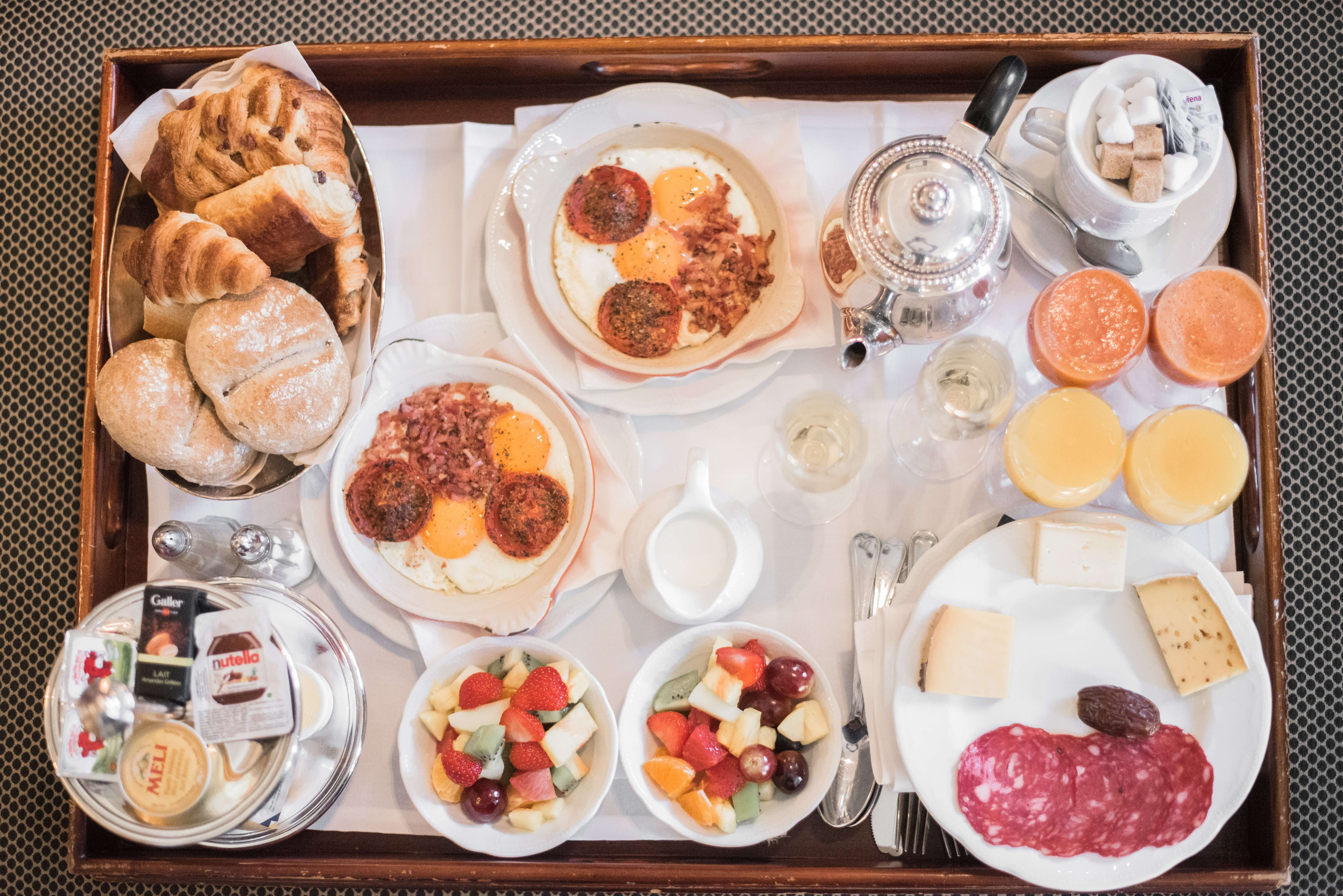 Champagne breakfast spread from The Pand Hotel