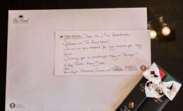 Welcome note from The Pand Hotel