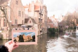 Postcard view along the Bruges Canal