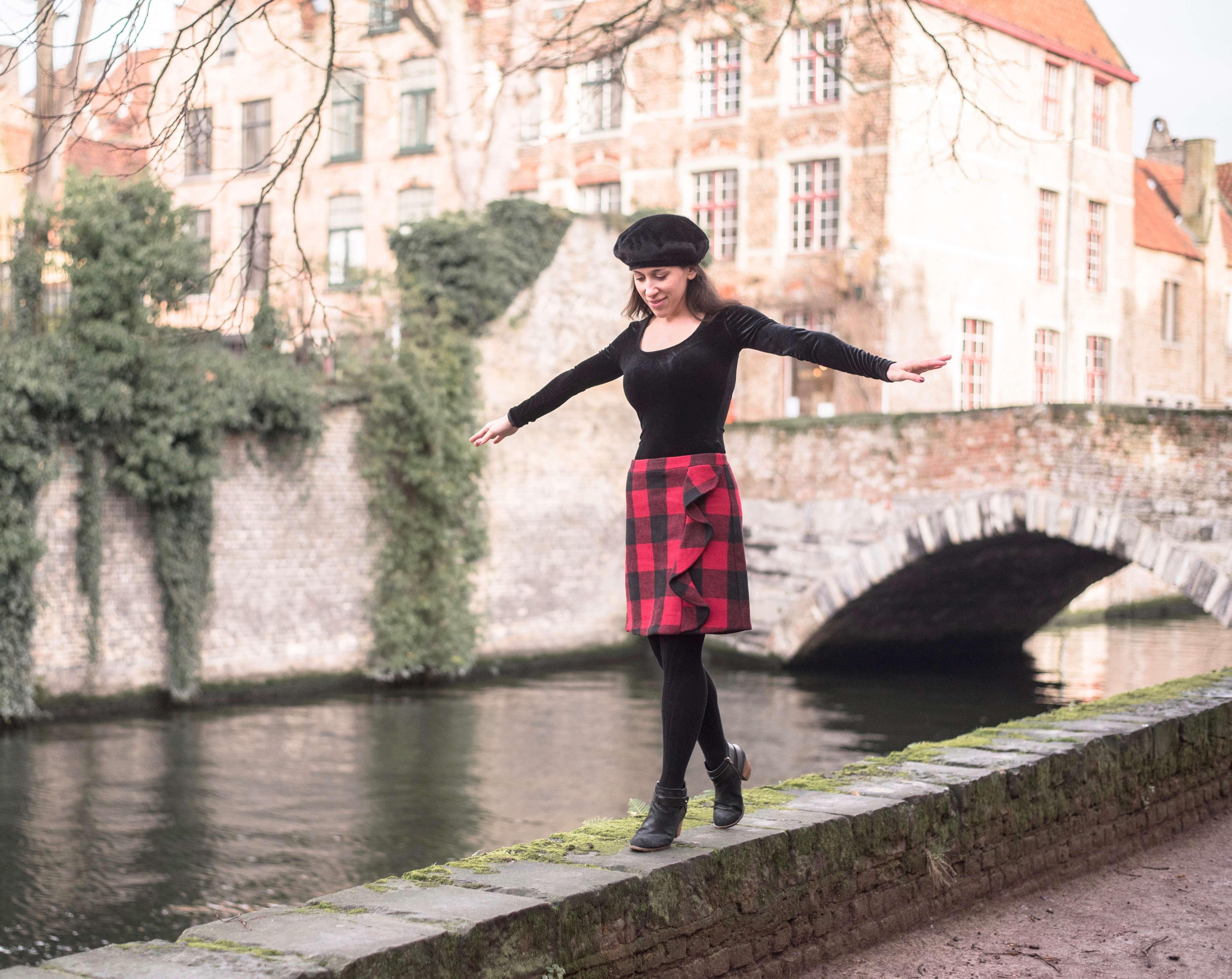 Walking along Bruges canals