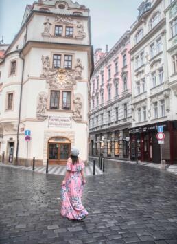 Admiring the beautiful Hotel Aurus in Prague