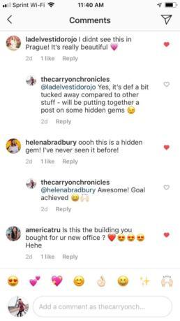 Instagram comments on Jubilee Synagogue Prague
