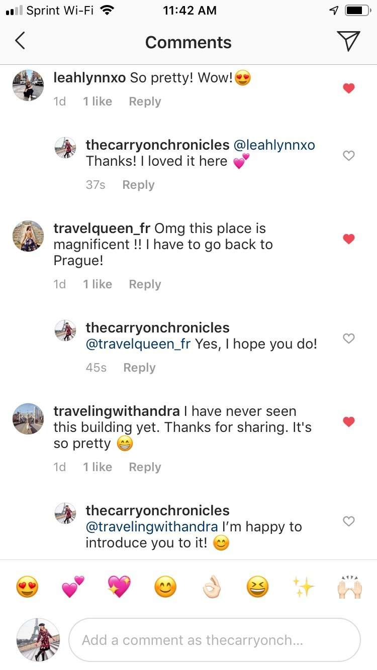 Instagram comments on Jubilee Synagogue Prague