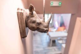 Fileas Art Hotel rhino lamp