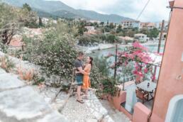 Romantic couple shot in Assos, Kefalonia