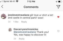 Belvedere Castle Instagram comment