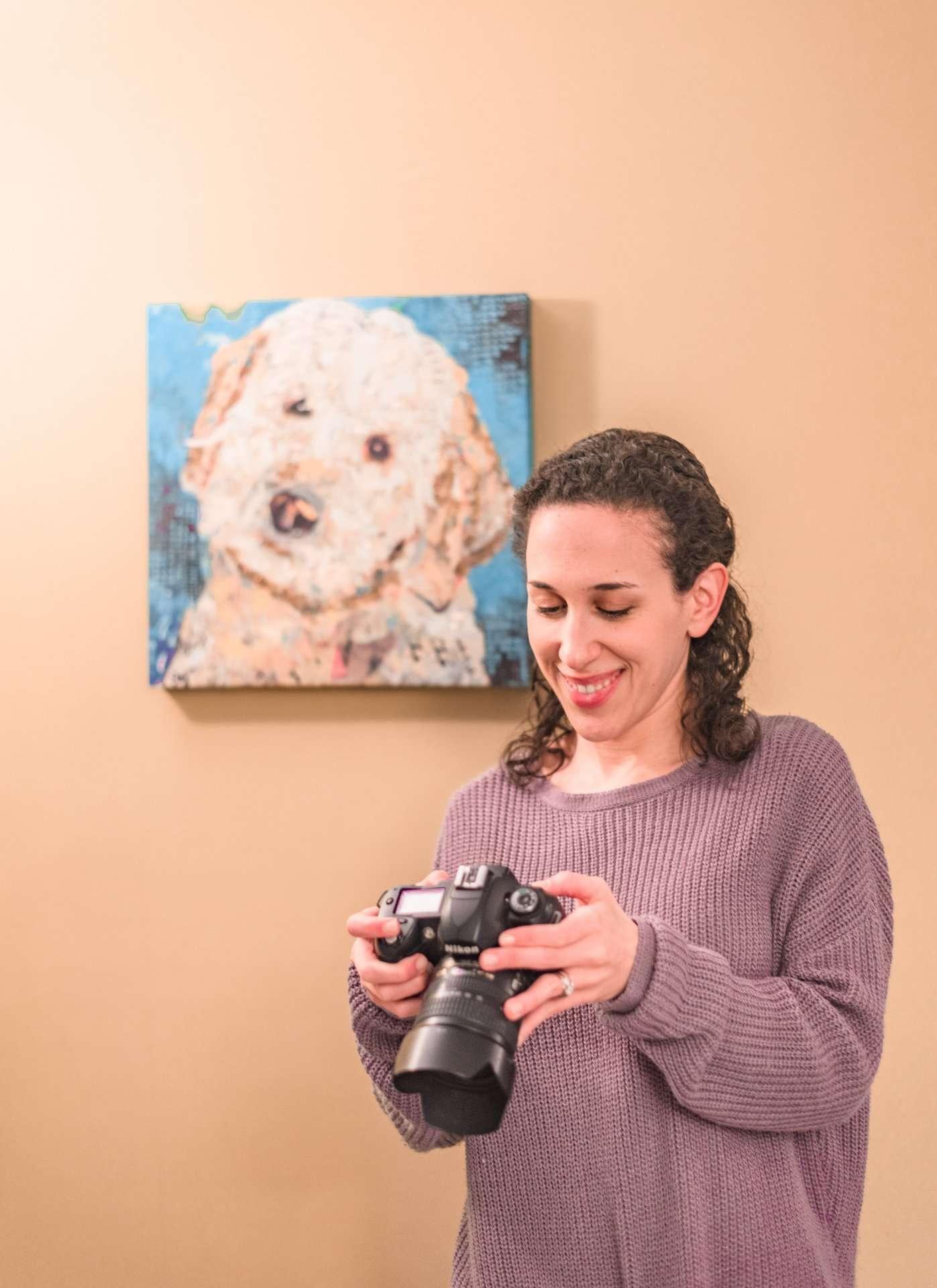 Checking photos on camera