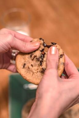 eating a chocolate chip cookie