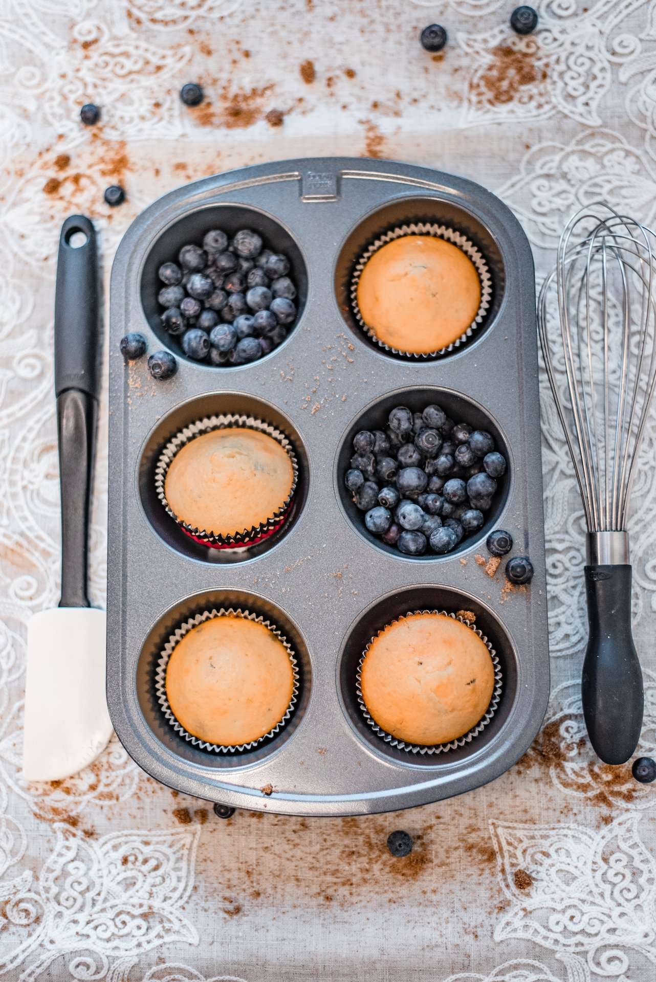 fresh blueberry muffins in pan