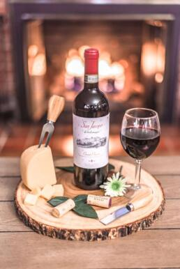 rustic wine and cheese spread