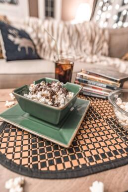 salted chocolate drizzled popcorn for movie night