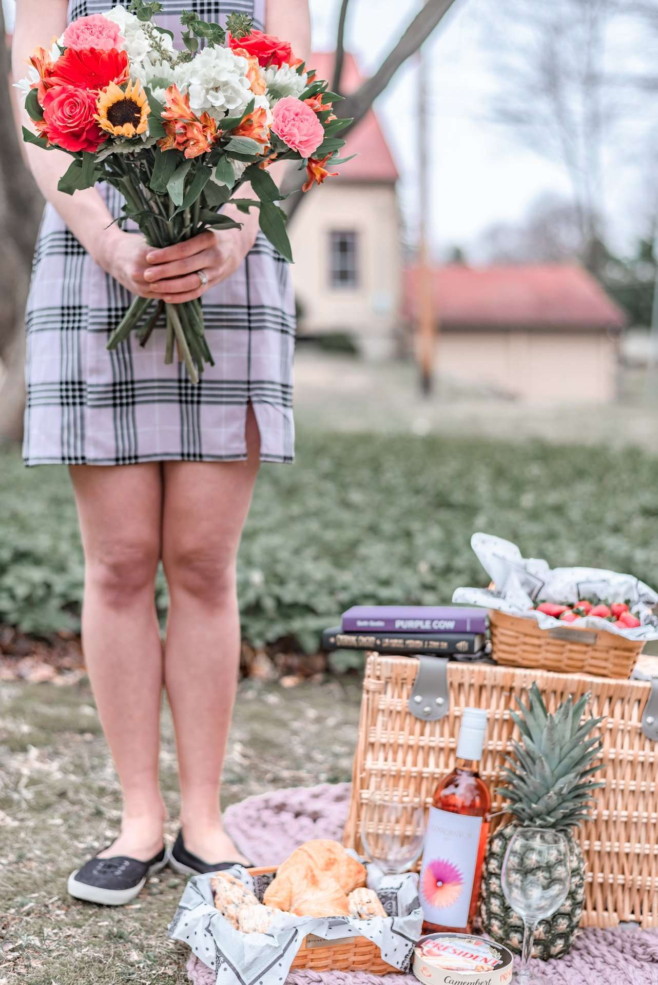 spring picnic with flowers