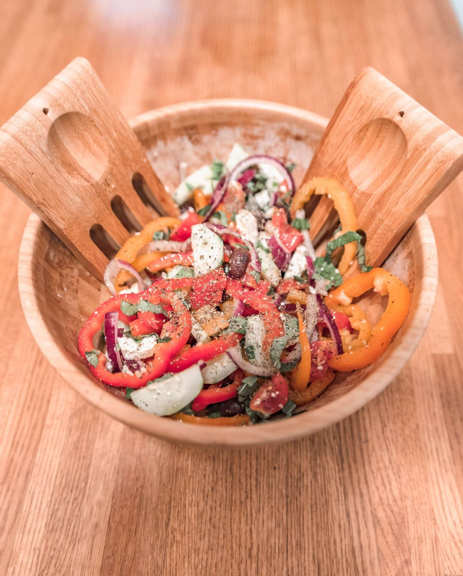 traditional Greek salad in salad bowl