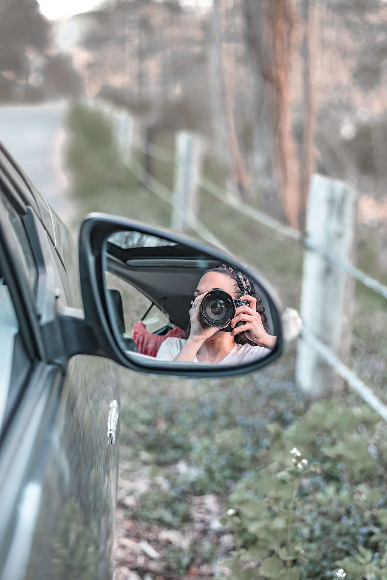 Taking photos on a road trip