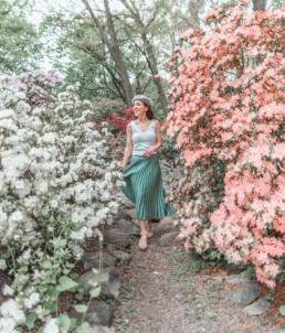 Walking through flowers at Stamford Arboretum