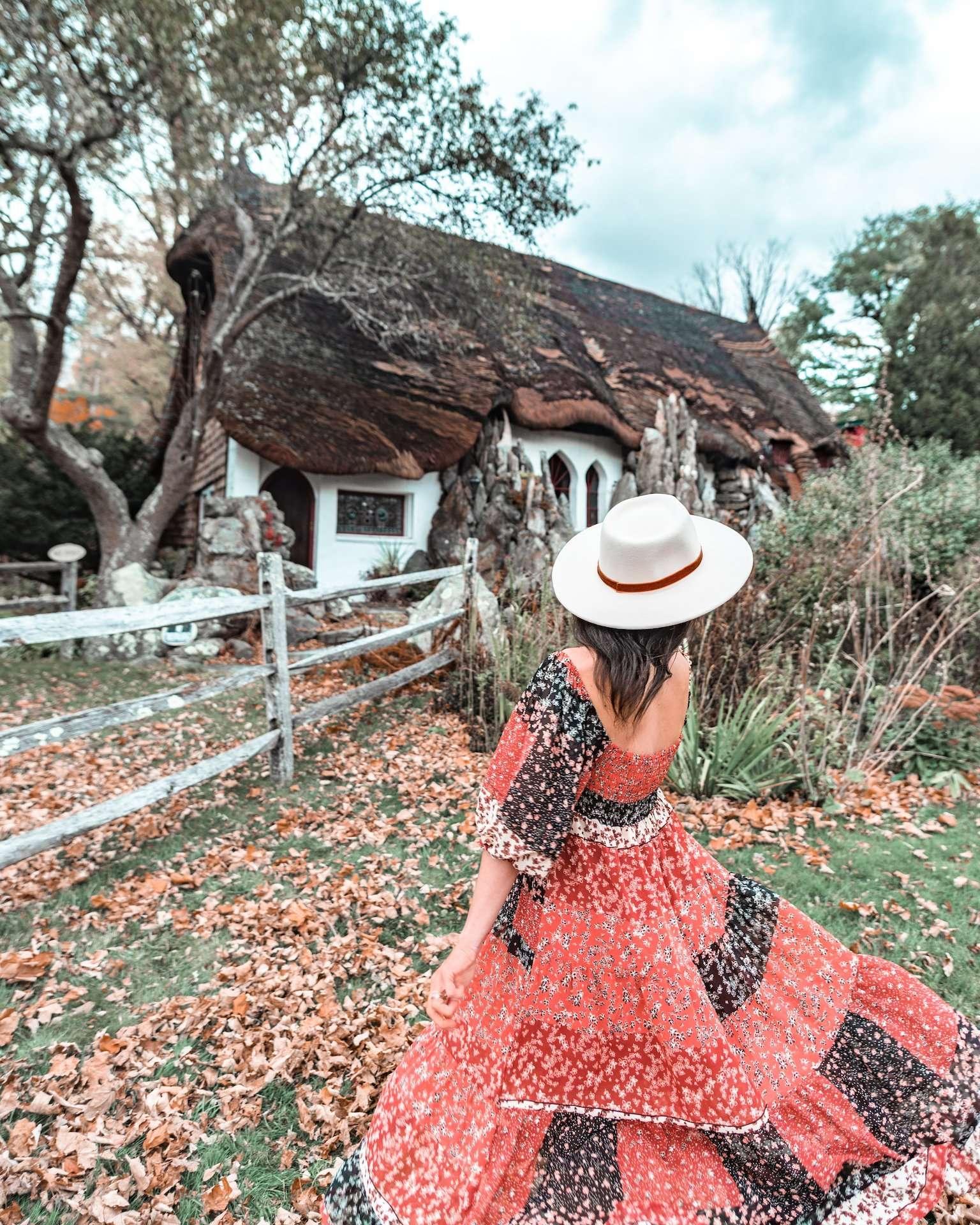 felt hat at storybook cottage