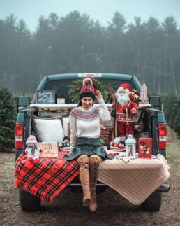 Christmas pickup truck at tree farm