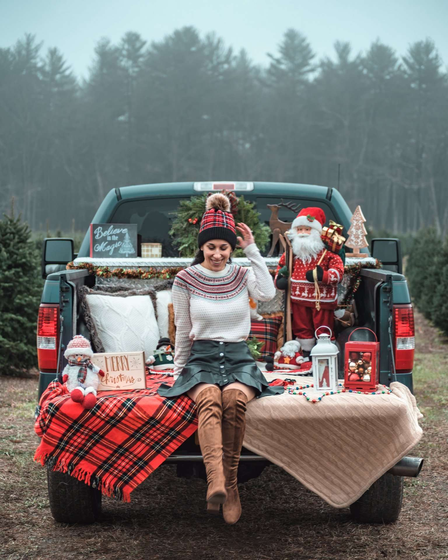 Christmas pickup truck at tree farm