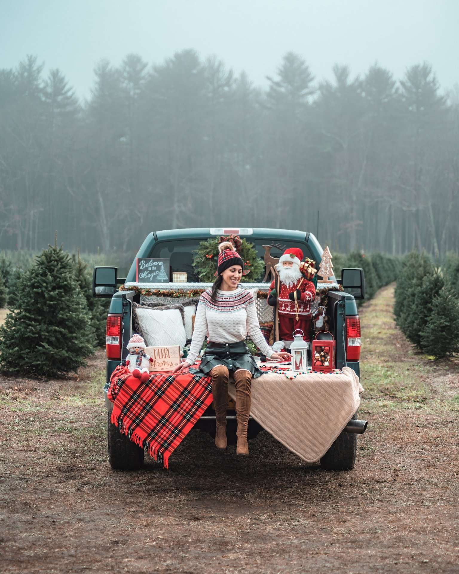 festive pickup truck at Christmas tree farm