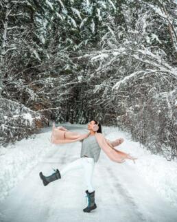 kicking the snow