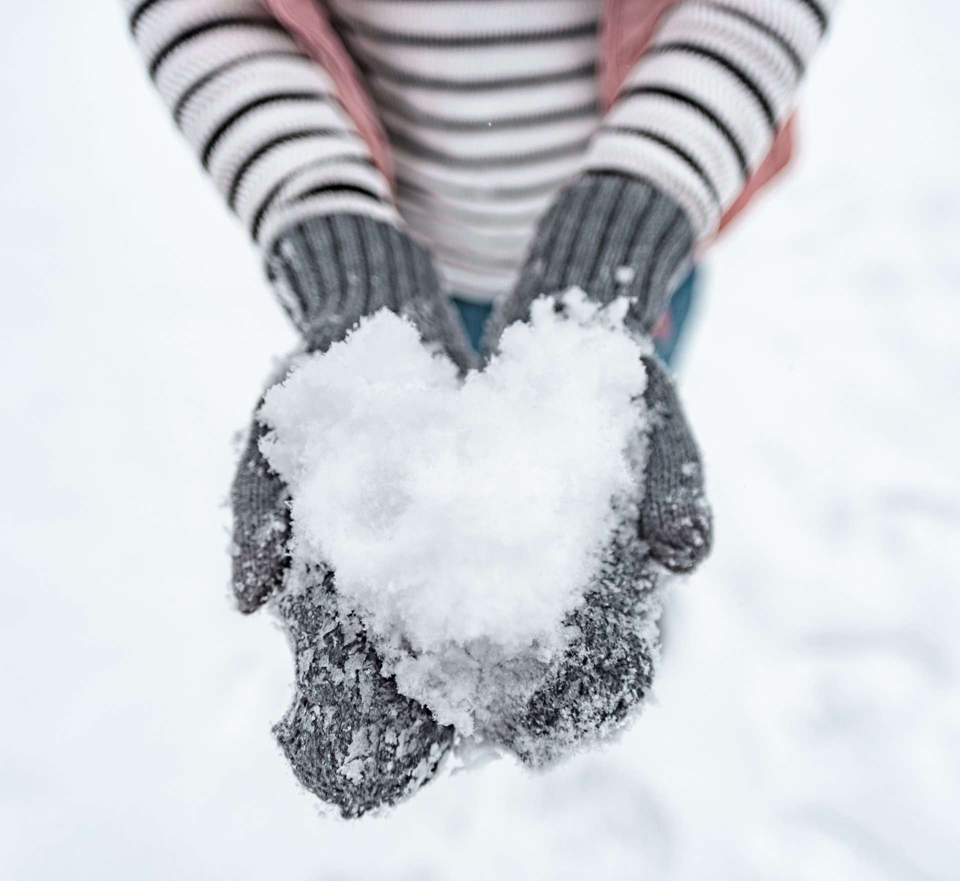 making snow hearts in Woodstock, Vermont