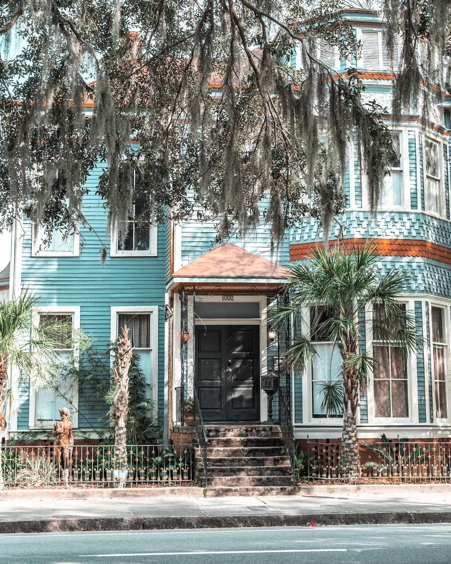 blue house on Drayton Street, Savannah