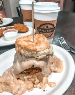 fried chicken biscuit with mushroom gravy